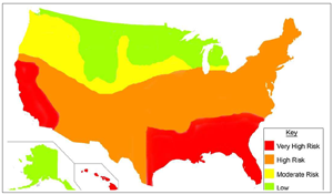 Termite Infestation Probability Map For The USA Australia The World - Us termite map